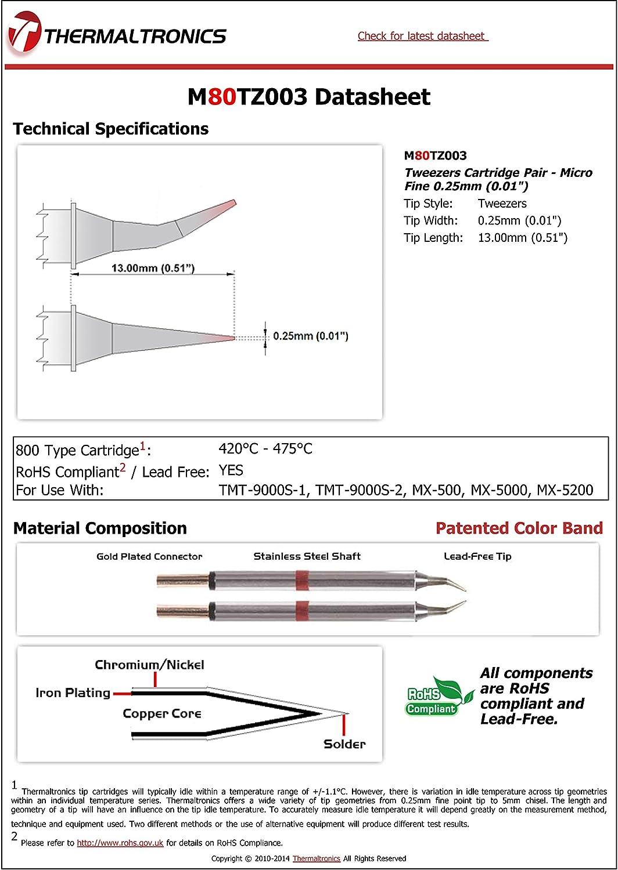 Thermaltronics M80TZ003 Tweezers Cartridge Pair Micro Fine 0.25mm 0.01