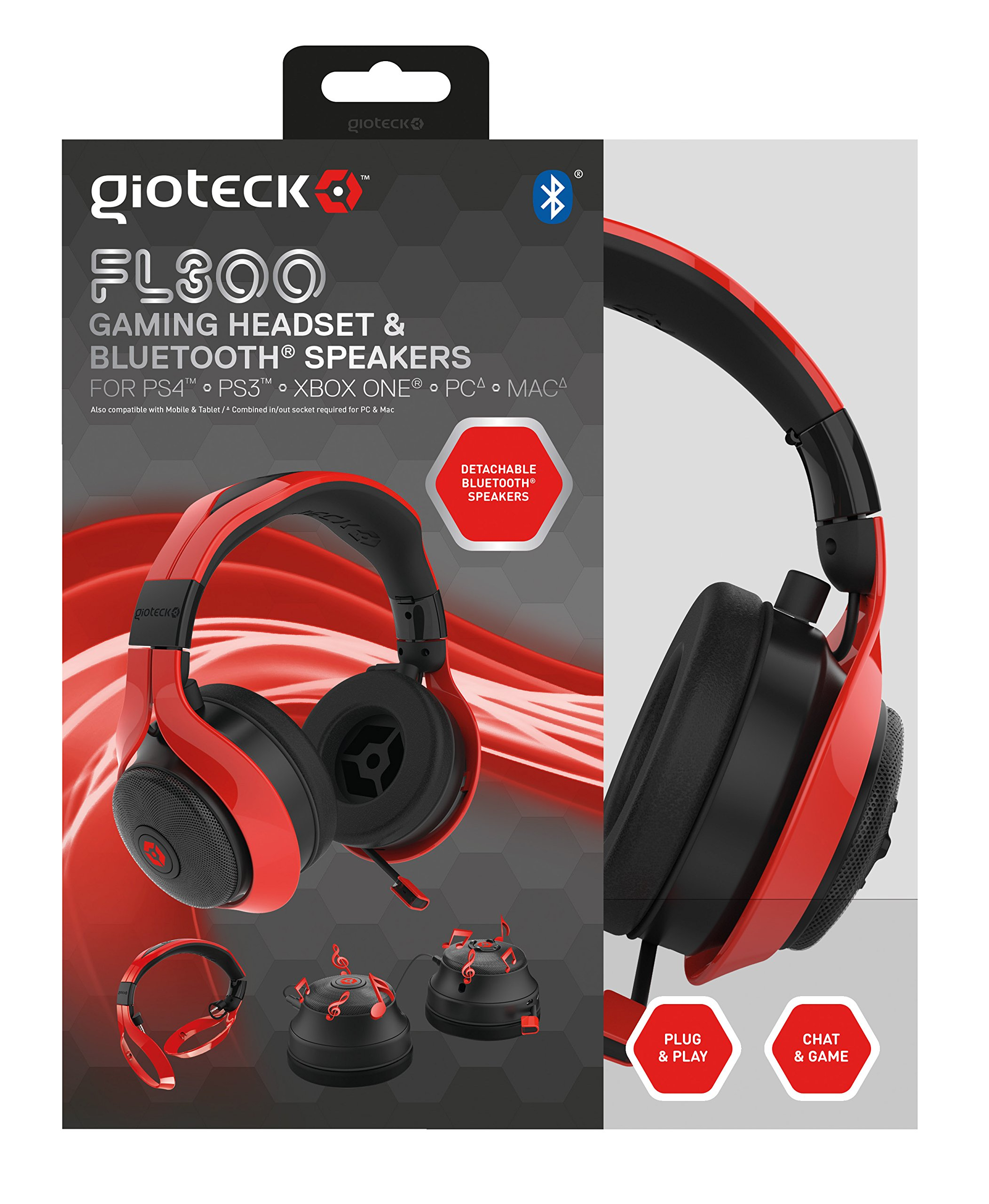 Gioteck FL-300 Wired Stereo Headset with Removable Bluetooth Speakers - PlayStation 4 - Red by Gioteck (Image #1)
