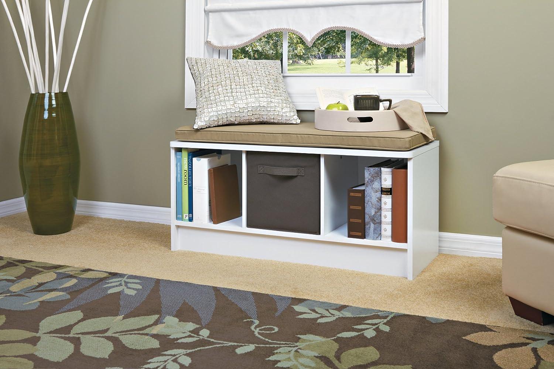Closetmaid Bench Cushion Part - 31: Amazon.com: ClosetMaid 1569 Cubeicals 3-Cube Storage Bench, White: Home U0026  Kitchen