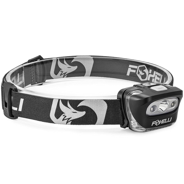 foxelli headlamp flashlight bright 165 lumen white