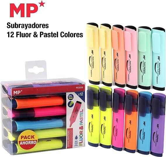 Subrayadores Madrid Papel (MP), 12 Colores Fluorescentes y Pastel ...