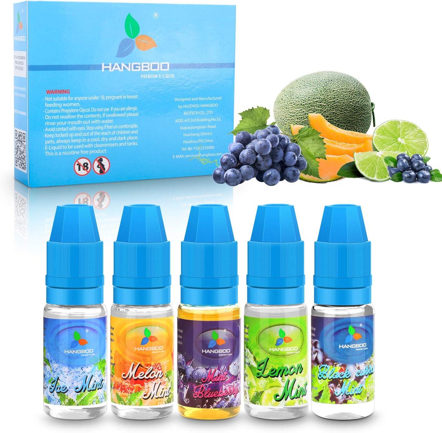 Aappy 5 Pack 10ml E Vape Cigarrillo Líquido, Multi Fruits E Liquid Premium Juice blueberry   Limón   grosella negra ...