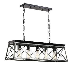 ISRAMP 5 Lights Linear Kitchen Island Pendant, Dining Room Chandelier, Modern Farmhouse Wood Texture Metal Shade E26-Socket Ceiling Hanging Light Fixture