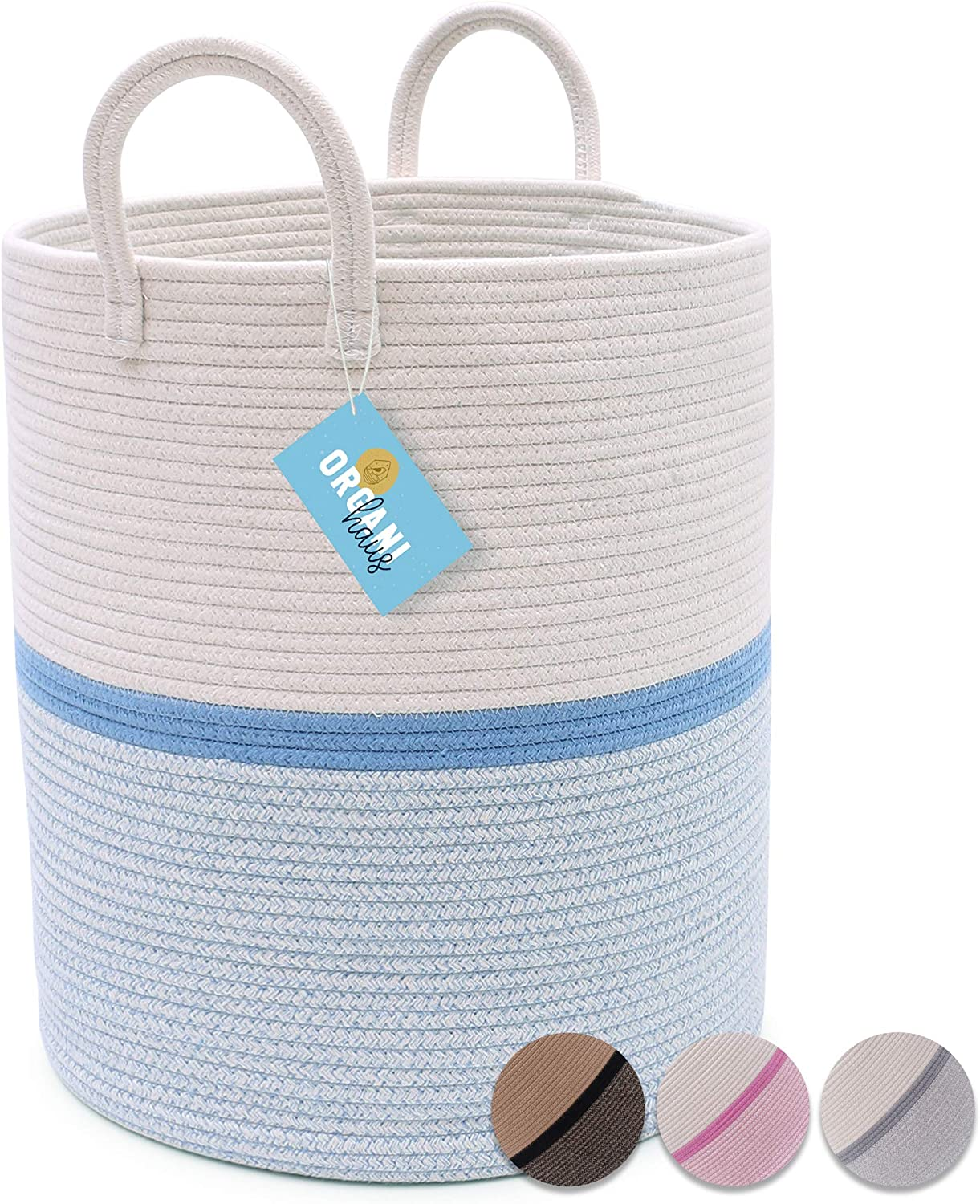 "OrganiHaus Large Blue Nursery Basket of Natural Cotton Rope Woven with Multiple Blended Colors | Perfect for Laundry, Toys, Baby Clothing, Diapers, Storage | Stylish 15""x18"" Baby Hamper Basket"