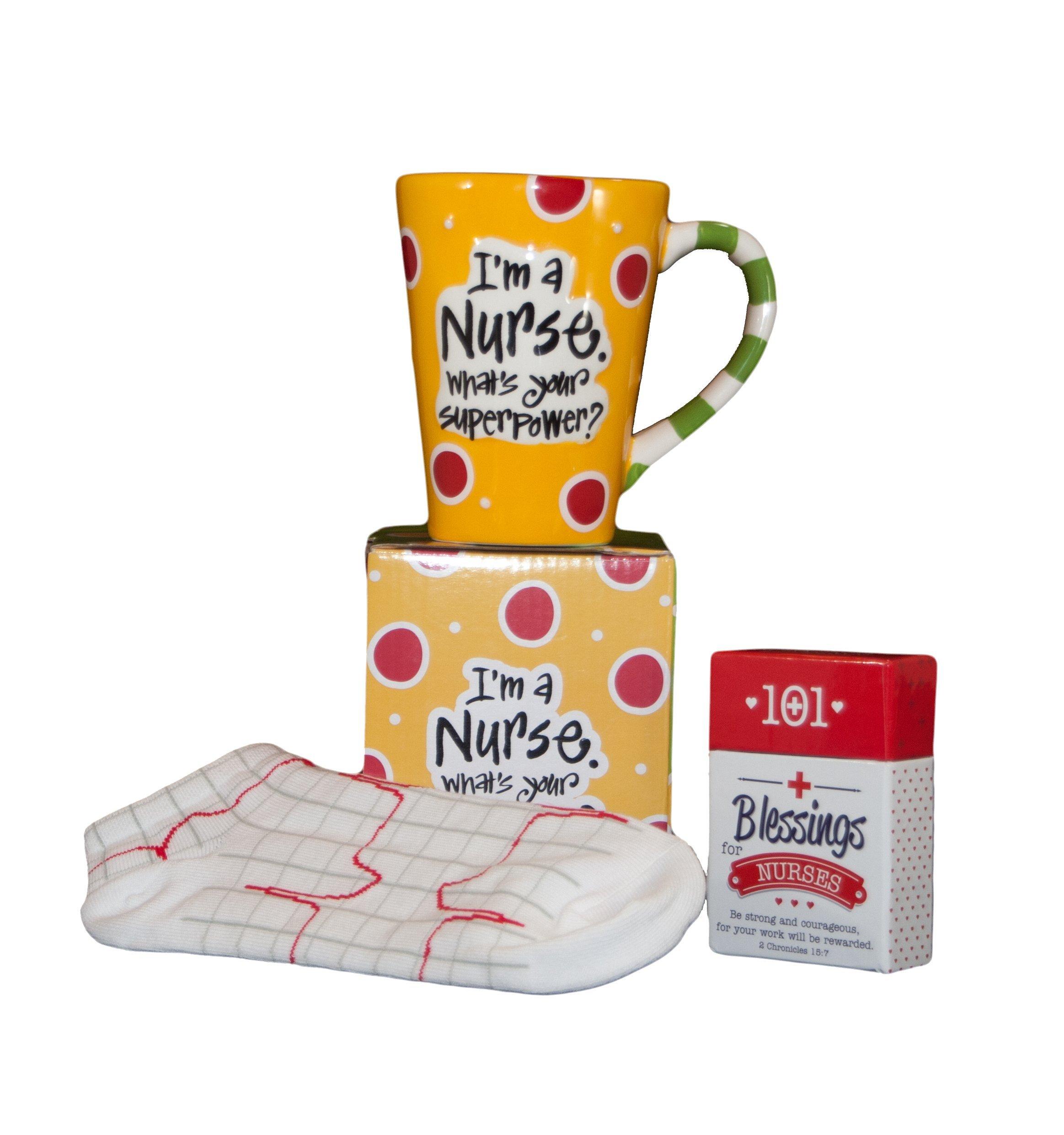 Nurse Gifts for Women Set or Bundle - 3 Items: 1 Nurse Mug with Box, 1 Pair Heartbeat EKG Nurse Socks and a Box of 101 Blessings for Nurses Cards.