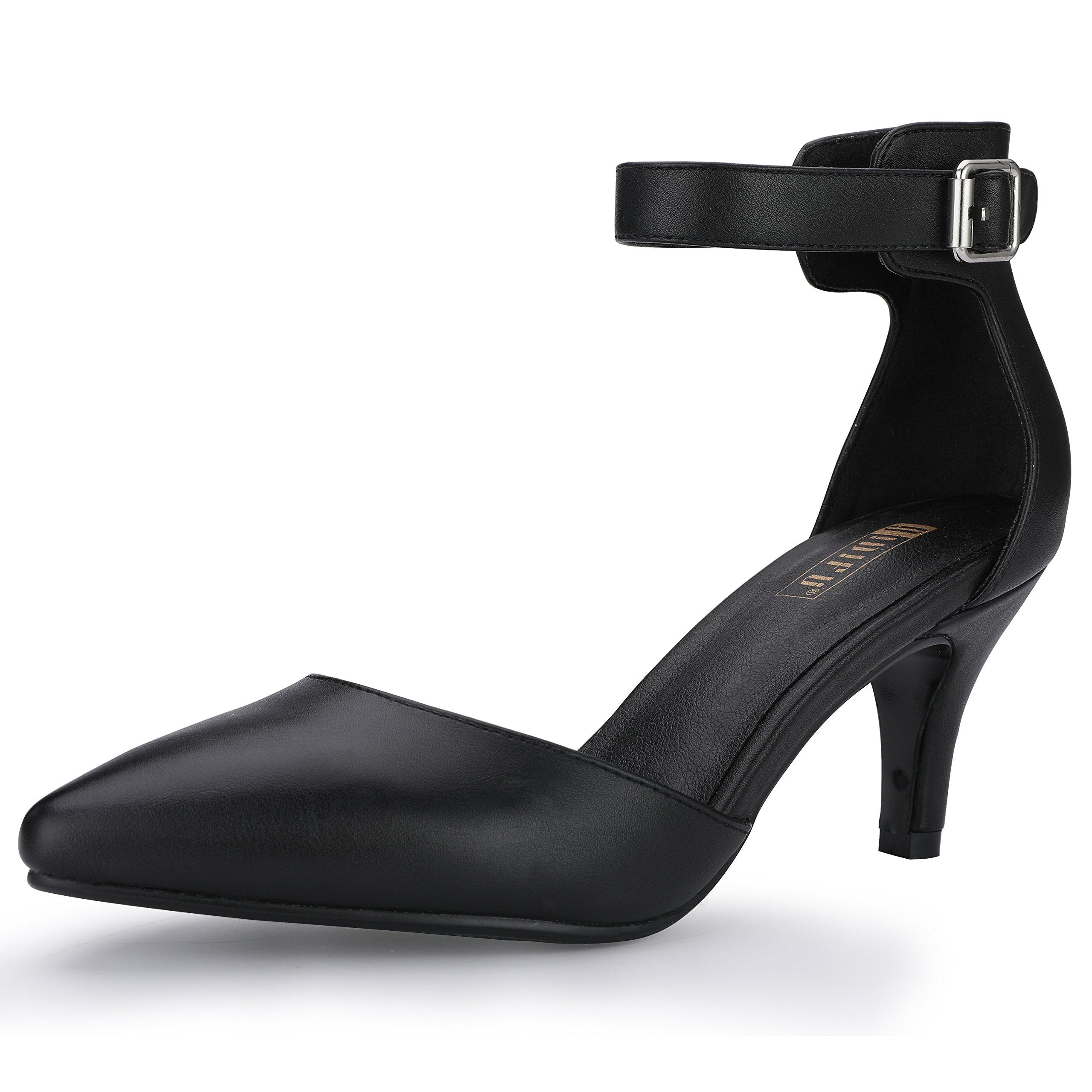 IDIFU Women's IN3 D'Orsay Pointed Toe Ankle Strap Mid Heel Pump (Black PU, 7 B(M) US)