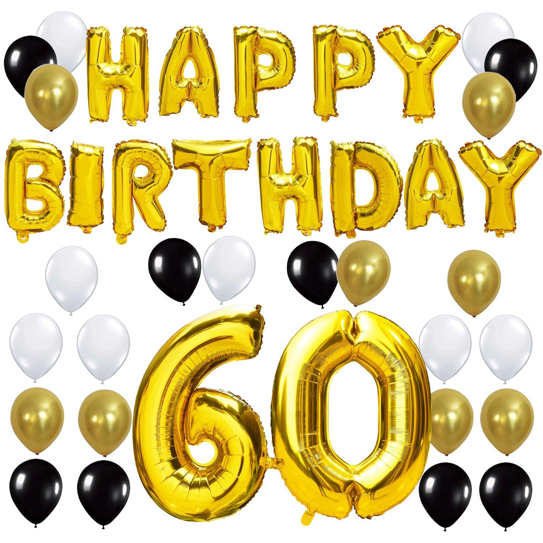 KUNGYO Letras Tipo Balón Doradas Happy Birthday+Número 60 Mylar Foil Globo+24 Piezas Negro Oro Blanco Globo de Látex 60 Años de Antigüedad Fiesta de ...