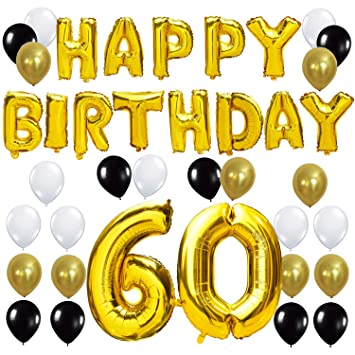 Kungyo 60th Birthday Party Decorations Kit Happy Birthday Balloon Banner Number 60 Balloon Mylar Foil Black Gold White Latex Ballon Perfect
