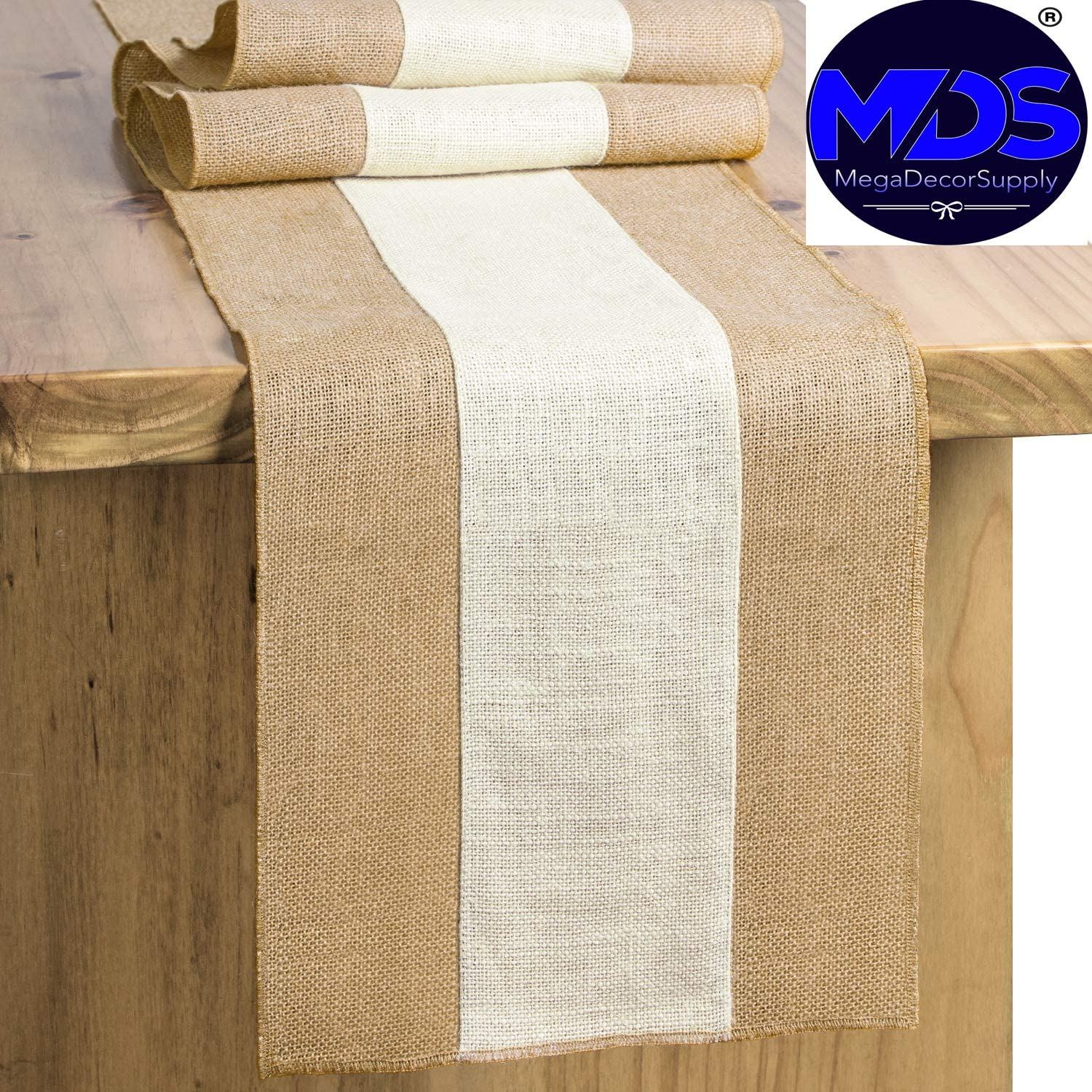 mds Pack of 10 Wedding 12 x 108 inch Burlap Table Runner Natural Jute Country Vintage for Wedding Banquet Decoration – Natural Jute Burlap: Home & Kitchen