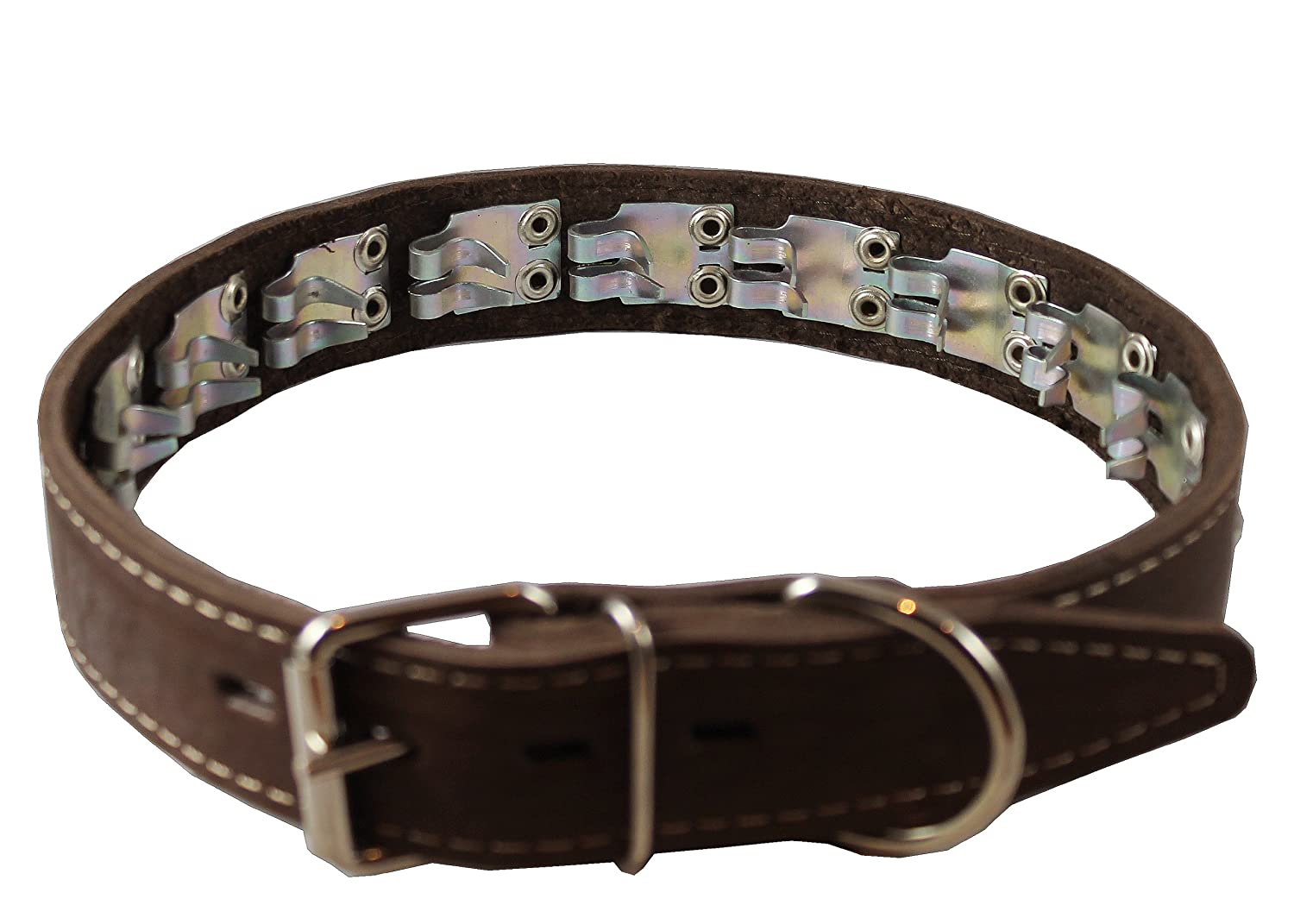 Training Pinch and Genuine Leather Studded Dog Collar Fits 16-19 Neck Brown 24x1 Wide