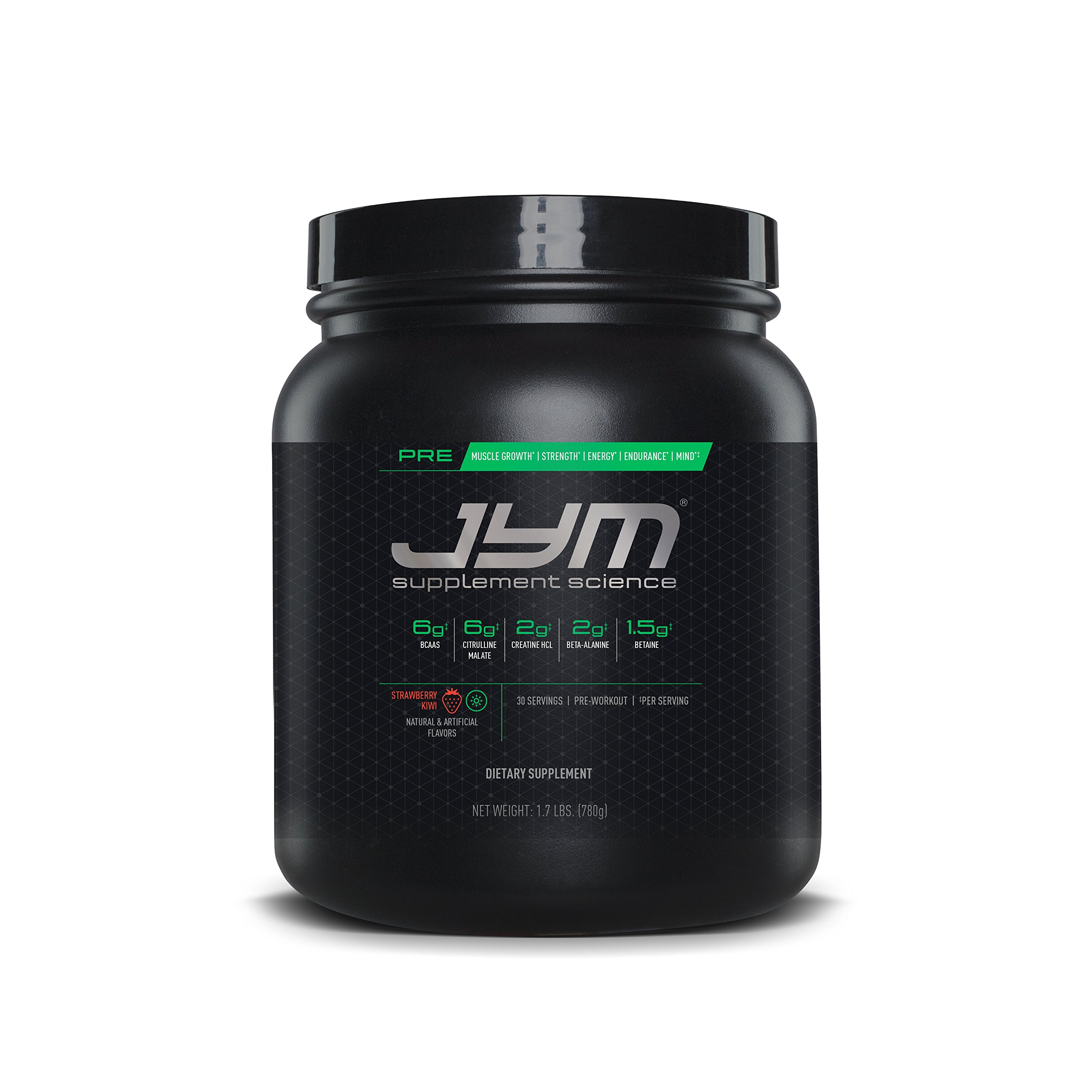 JYM Supplement Science, PRE JYM, Pre-Workout with BCAA's, Creatine HCI, Citrulline Malate, Beta-alanine, Betaine, Alpha-GPC, Beet Root Extract and more, Kiwi Strawberry, 30 Servings
