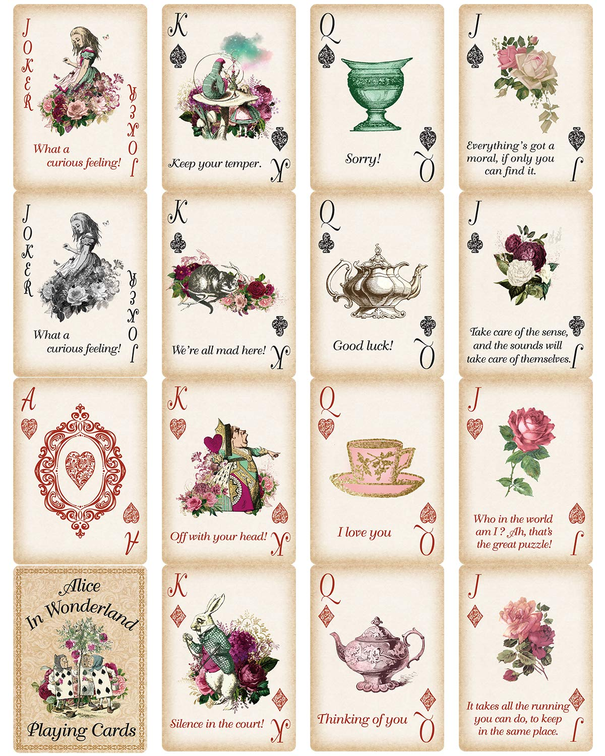 Alice Playing Cards Poker for Tea Party Supply Themed Party Gift by treasure cove