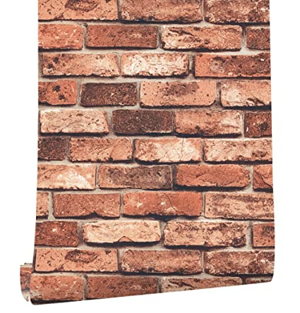 HaokHome 69090 Vinyl Retro Vintage Faux Brick Wallpaper Red Rust for ...