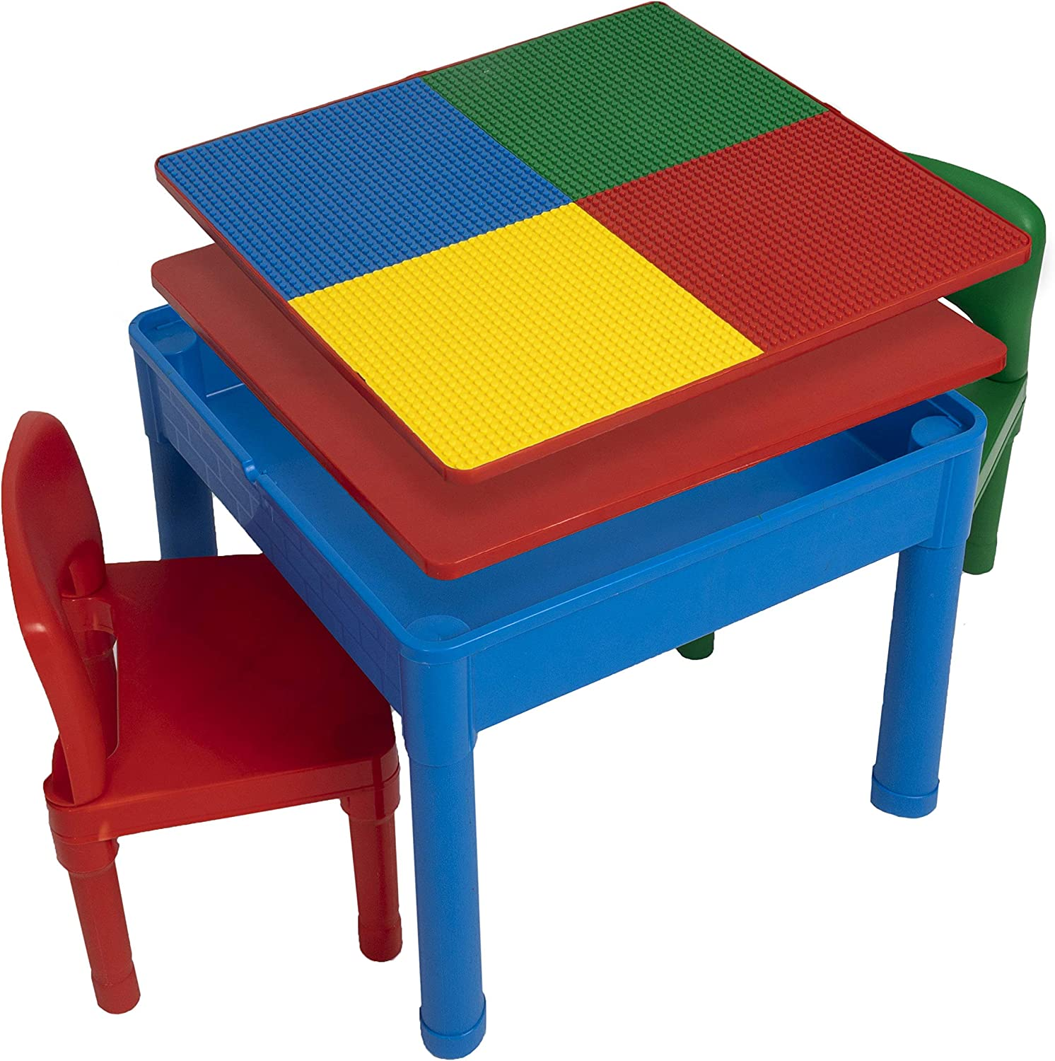 Greensen 2 in 1 Kids Activity Table Detachable Building Block Table Children Wood Play Table Desk Arts Crafts Table for Boys Girls Learn Desk 32.7x17.4x19.7in