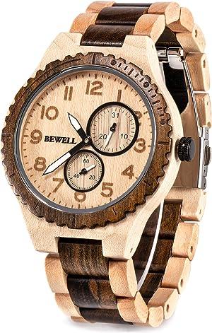 BEWELL Wood Watches for Men Analog Quartz Date Retro Handcraft Lightweight Wooden Wristwatch W154A