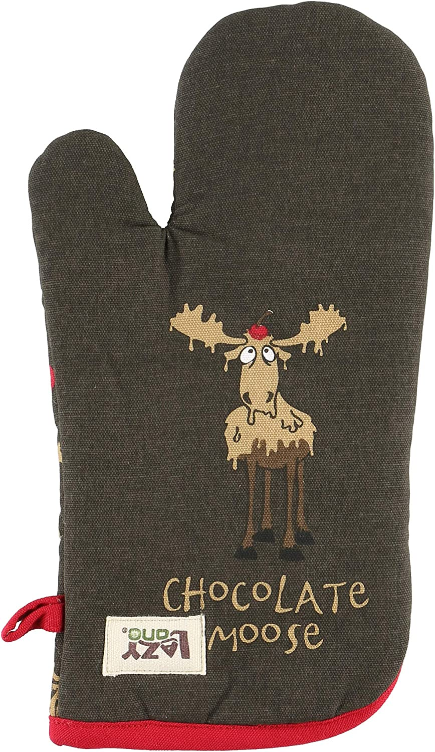 LazyOne Funny Oven Mitts, Cute Kitchen Accessories for Home (Chocolate Moose, ONE Size)