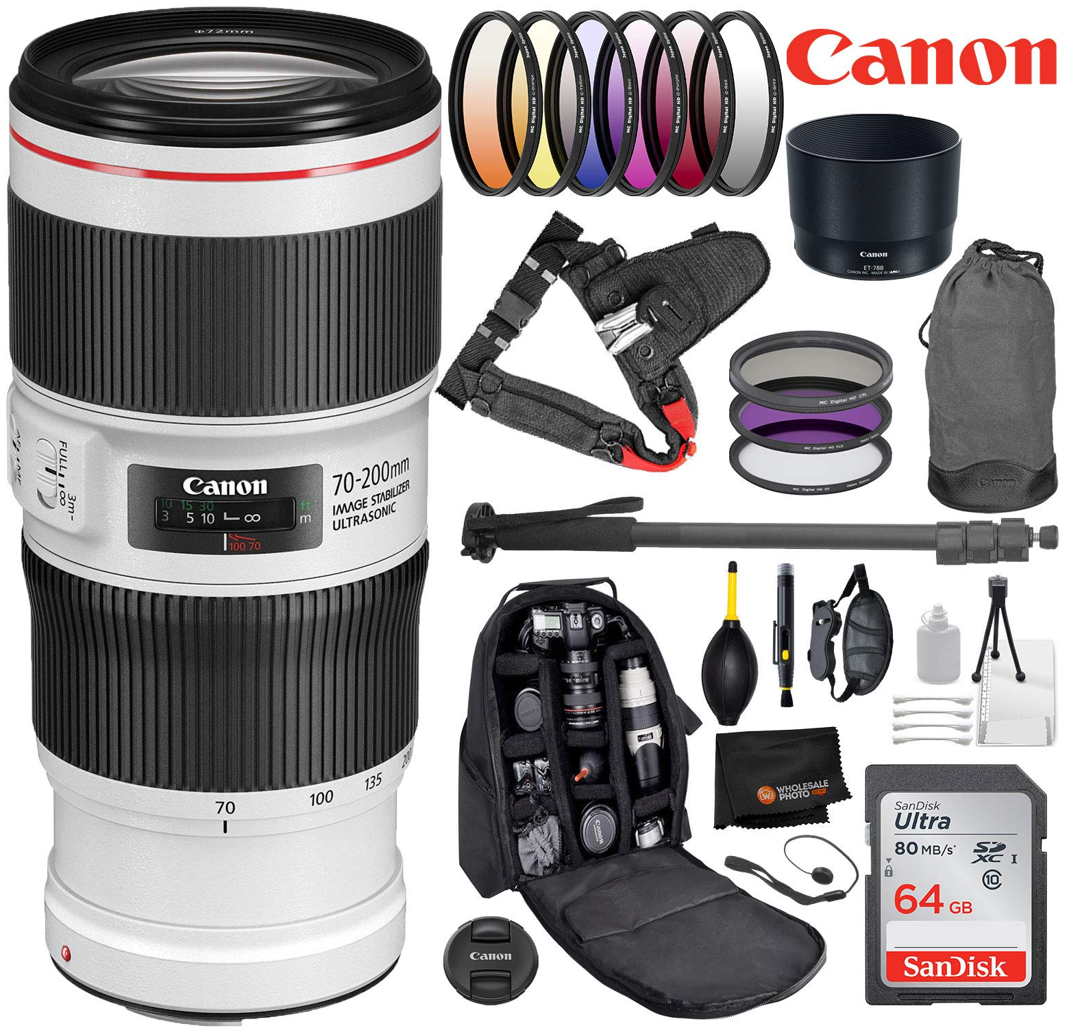 Canon EF 70-200mm f/4L is II USM Lens Bundle with Professional Bundle Package Deal Kit for EOS 7D Mark II, 6D Mark II, 5D Mark IV, 5D S R, 5D S, 5D Mark III, 80D, 70D, 77D, T5, T6, T6s, T7i, SL2