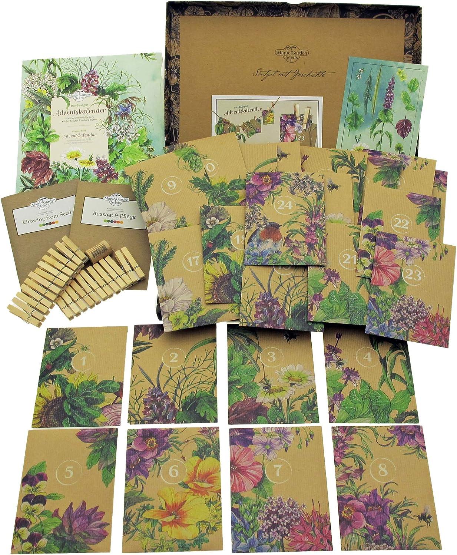 Bio-Saatgut-Adventskalender 2020 - Traditionelle Heilpflanzen, Küchenkräuter und essbare Blüten - befüllt mit 24 Bio-Samentütchen...