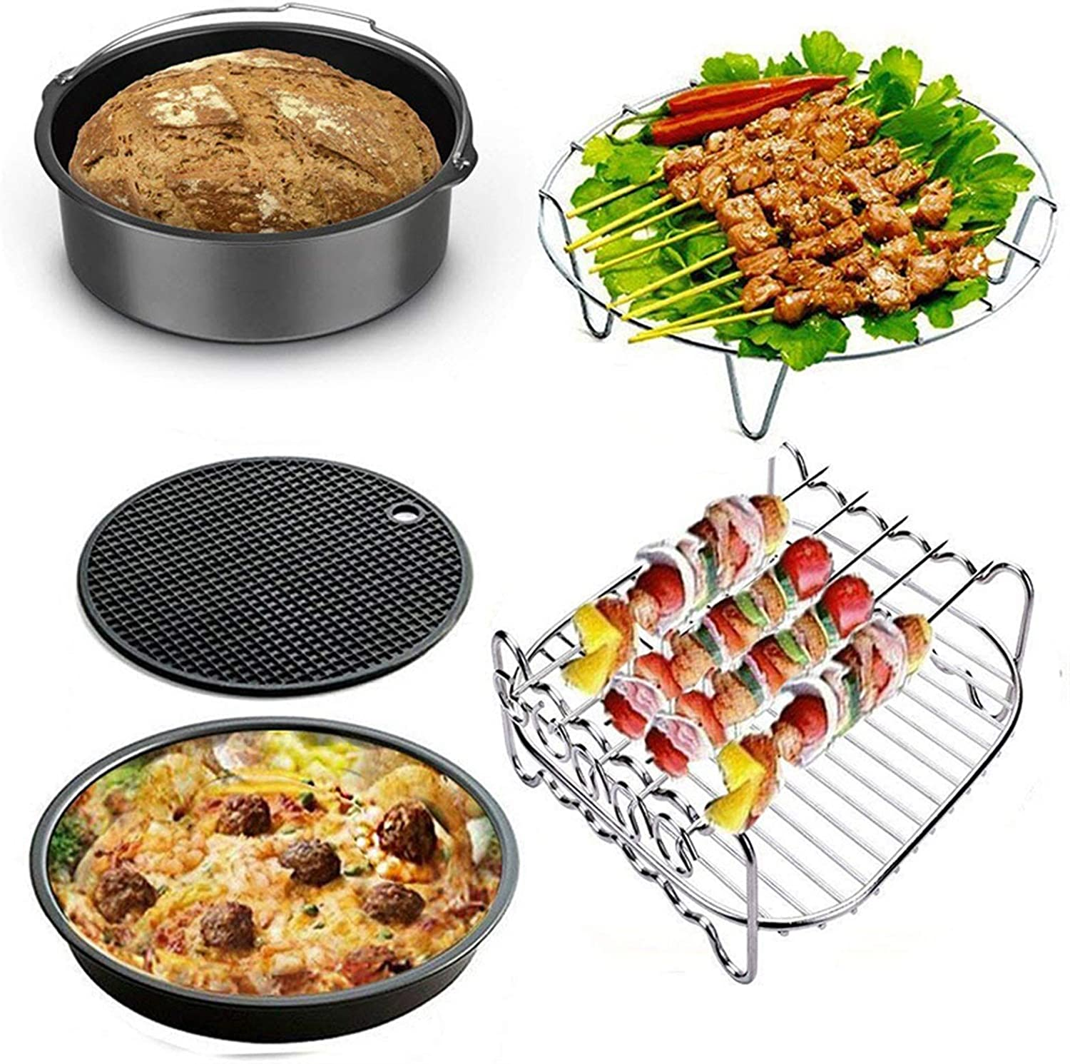 ODSHY 7 Inch Air Fryer Accessories for Gowise Phillips Cozyna and Secura, Set of 8, Fit All Airfryer 3.7 4.2 5.3 5.8QT (Color : Full Set 3)