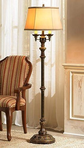 Traditional Floor Lamp Candelabra Style 4-Light Italian Bronze Bell Shade