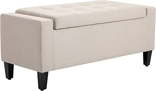 HOMCOM Linen Storage Ottoman Bench Storage Chest Tufted Ottoman Cube
