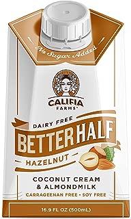 product image for Califia Farms - Hazelnut Better Half Coffee Creamer, 16.9 Oz (Pack of 6) | Half and Half | Coconut Cream and Almond Milk | Non Dairy | Plant Based | Vegan | Keto| Sugar Free | Zero Carb | Shelf Stable