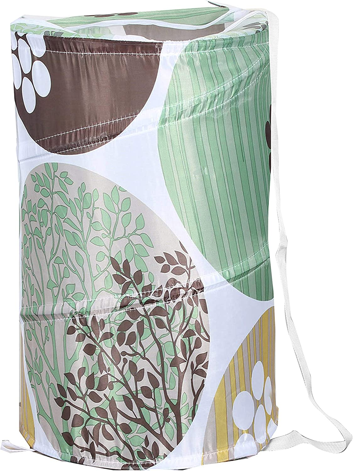 """American Dream Home Goods Laundry Basket 18""""x30"""" - Pop Up Hamper - Collapsible, Foldable Laundry Bag in Green Floral Print"""