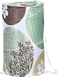 "American Dream Home Goods Laundry Basket 18""x30"" - Pop Up Hamper - Collapsible, Foldable Laundry Bag in Green Floral Print"
