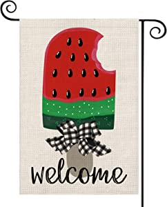 AVOIN Watermelon Ice Cream Popsicle Garden Flag Vertical Double Sided, Welcome Summer Buffalo Check Plaid Bow Flag Yard Outdoor Decoration 12.5 x 18 Inch