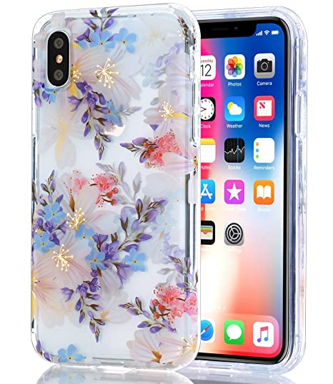 reputable site 59697 f829f BAISRKE iPhone Xs Case, iPhone X Case Clear with Purple Floral Pattern  [Fusion] Hard PC Back Soft TPU Bumper Raised Edge Drop Protection Cover for  ...