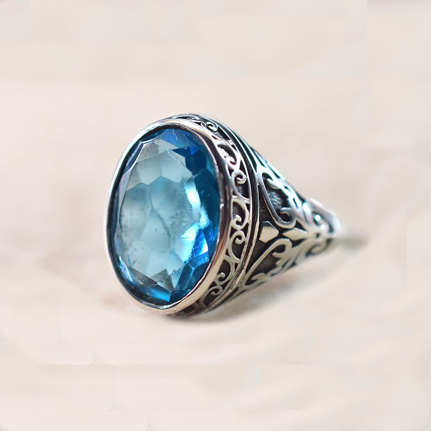 Handmade Topaz Band Ring December Birthstone Personalized Engagement Gift Natural Topaz Gem Ring for Men in Solid 925 Sterling Silver