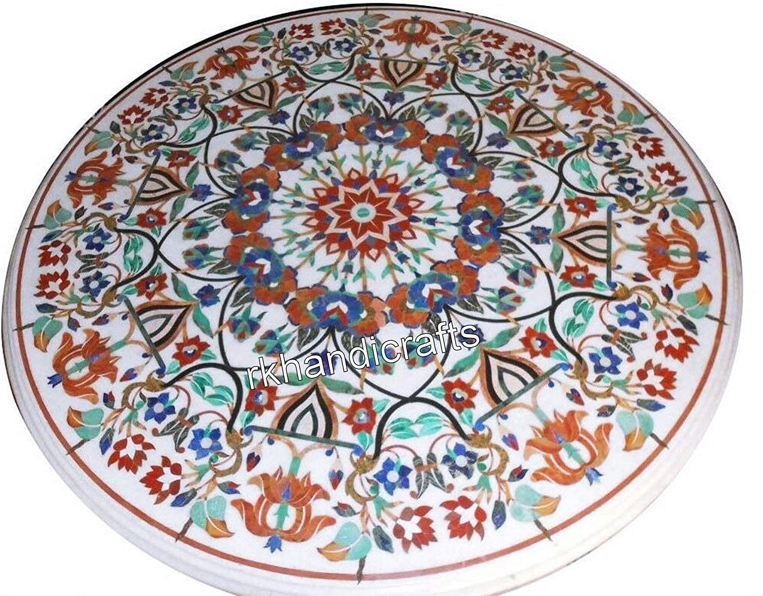 60 x 60 Inches White Marble Restaurant Table Top Royal Meeting Furniture with Vintage Craft Handcrafted from India