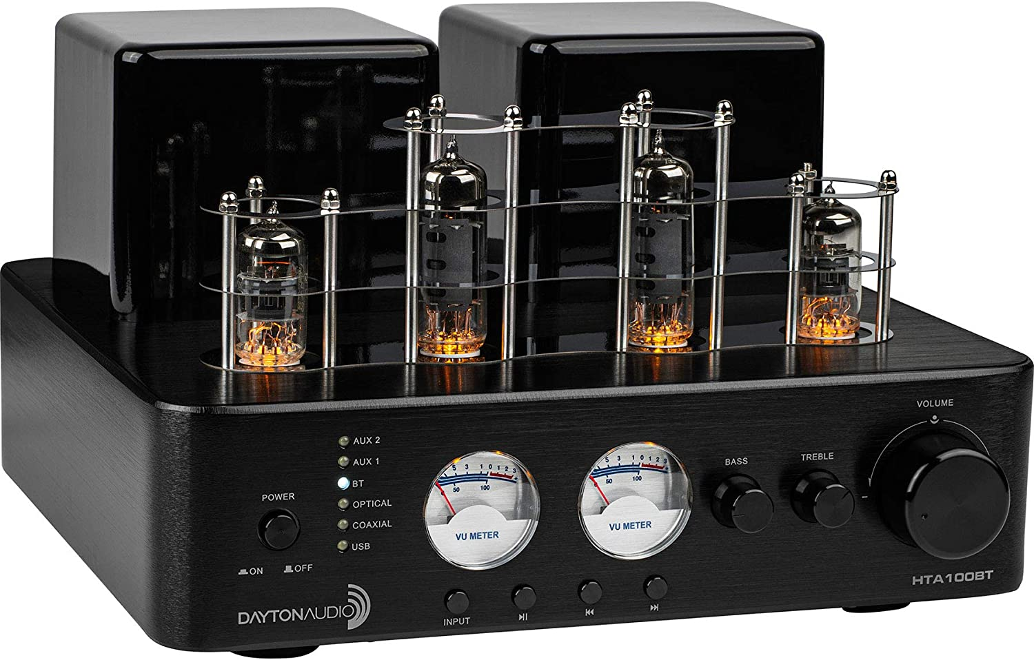 Dayton Audio HTA100BT Hybrid Stereo Tube Amplifier with Bluetooth USB Aux in Sub Out 100W