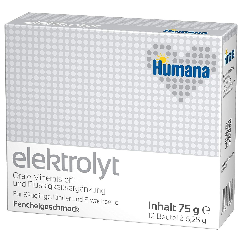 Humana Elektrolyt, Mineralstoff- und Flü ssigkeitsergä nzung bei Durchfall, mit Fenchelgeschmack, von Geburt an, 2er Pack (2 x 75 g) Humana GmbH 74273
