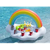 Jasonwell Inflatable Rainbow Cloud Drink Holder Floating Beverage Salad Fruit Serving Bar Pool Float Party Accessories…