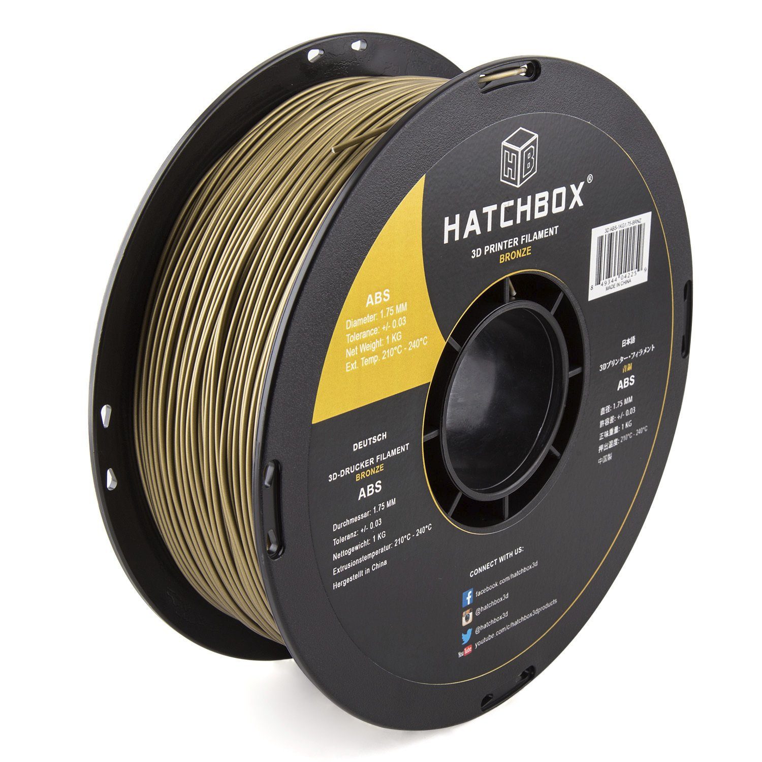 HATCHBOX ABS 3D Printer Filament, Dimensional Accuracy +/- 0.03 mm, 1 kg Spool, 1.75 mm, Bronze