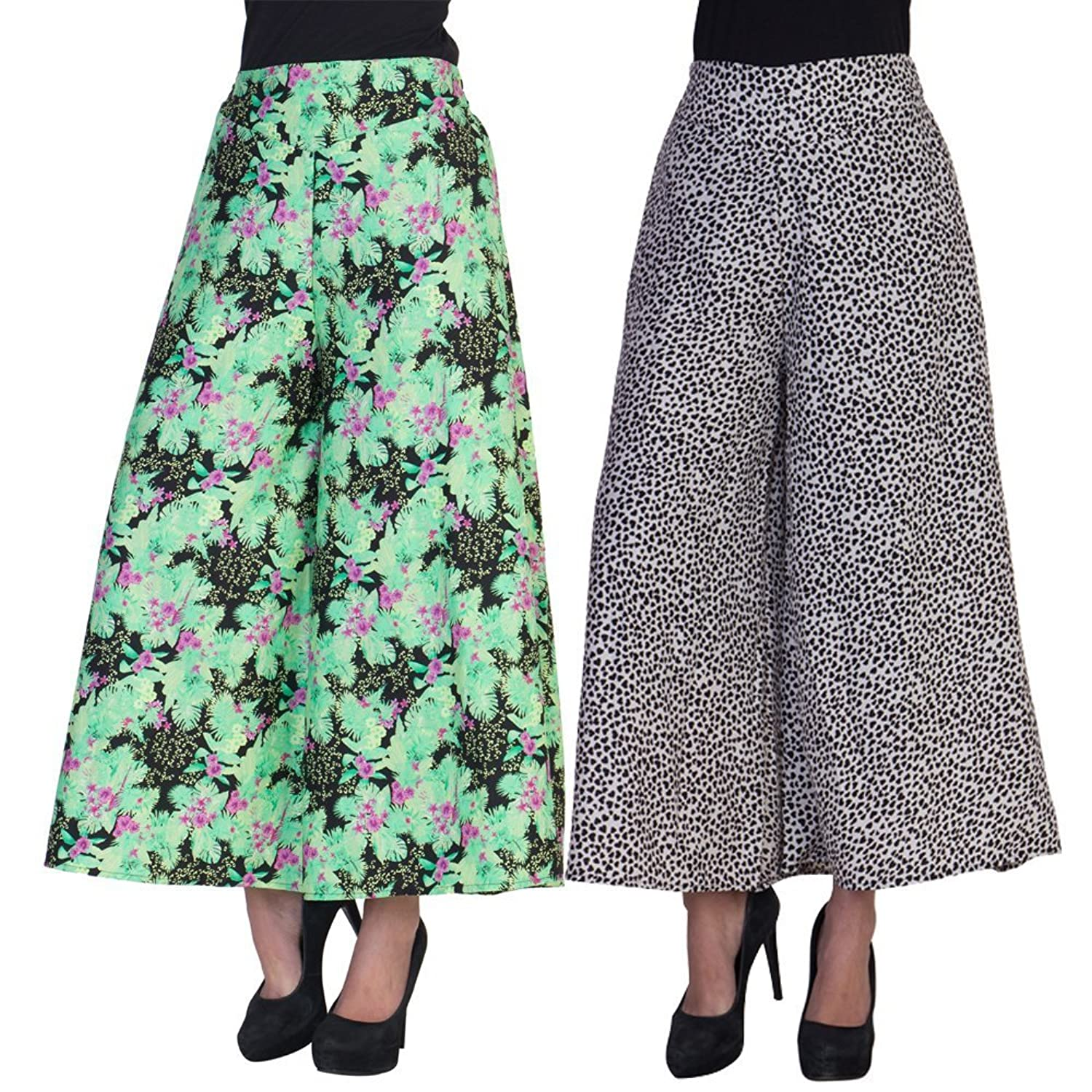 2Day Women's Stylish Palazzo Floral And Heart Print (Pack of 2)