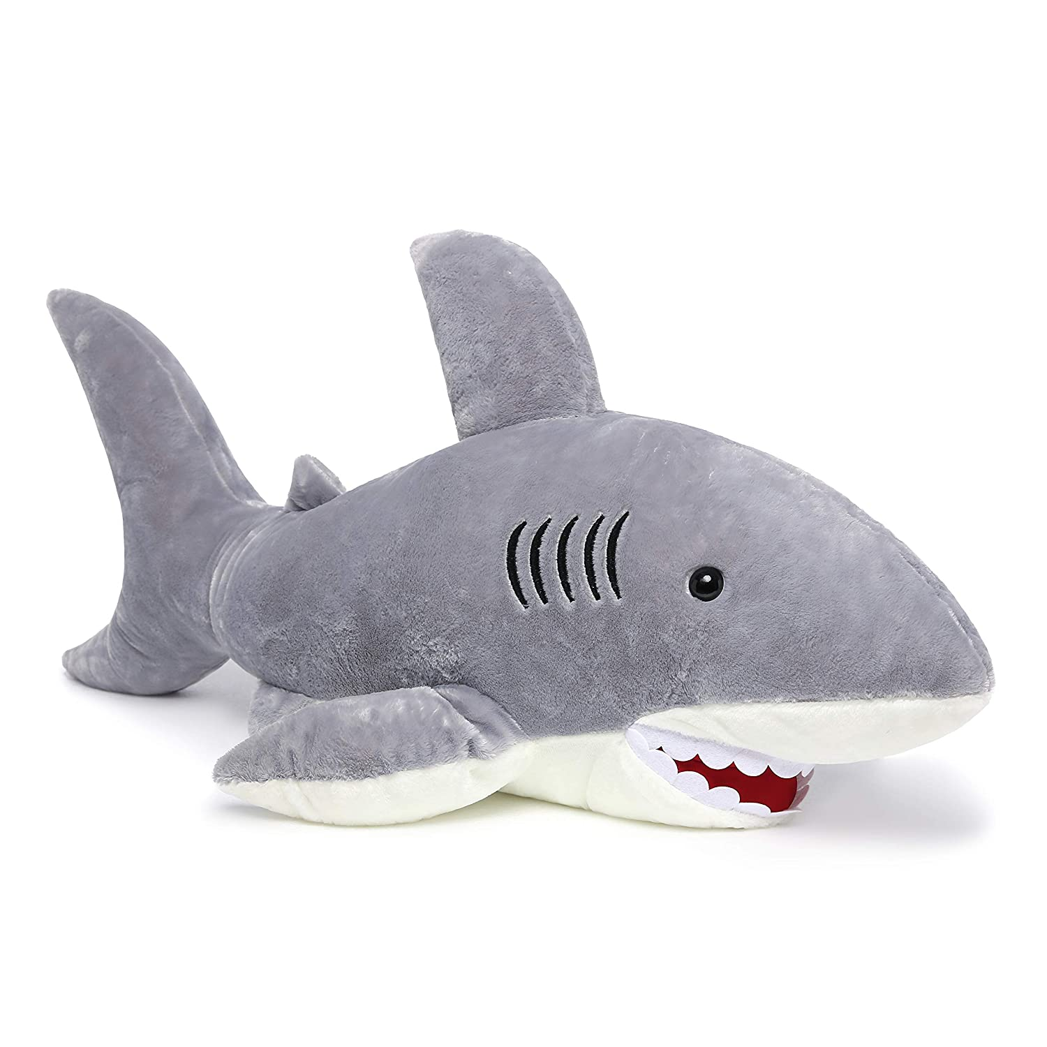Amazon Com Morismos Giant Shark Stuffed Animal Gray Shark Plush