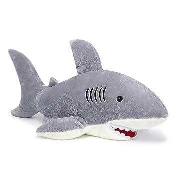 Amazon Com Morismos Giant Shark Stuffed Animal Gray Shark Plush