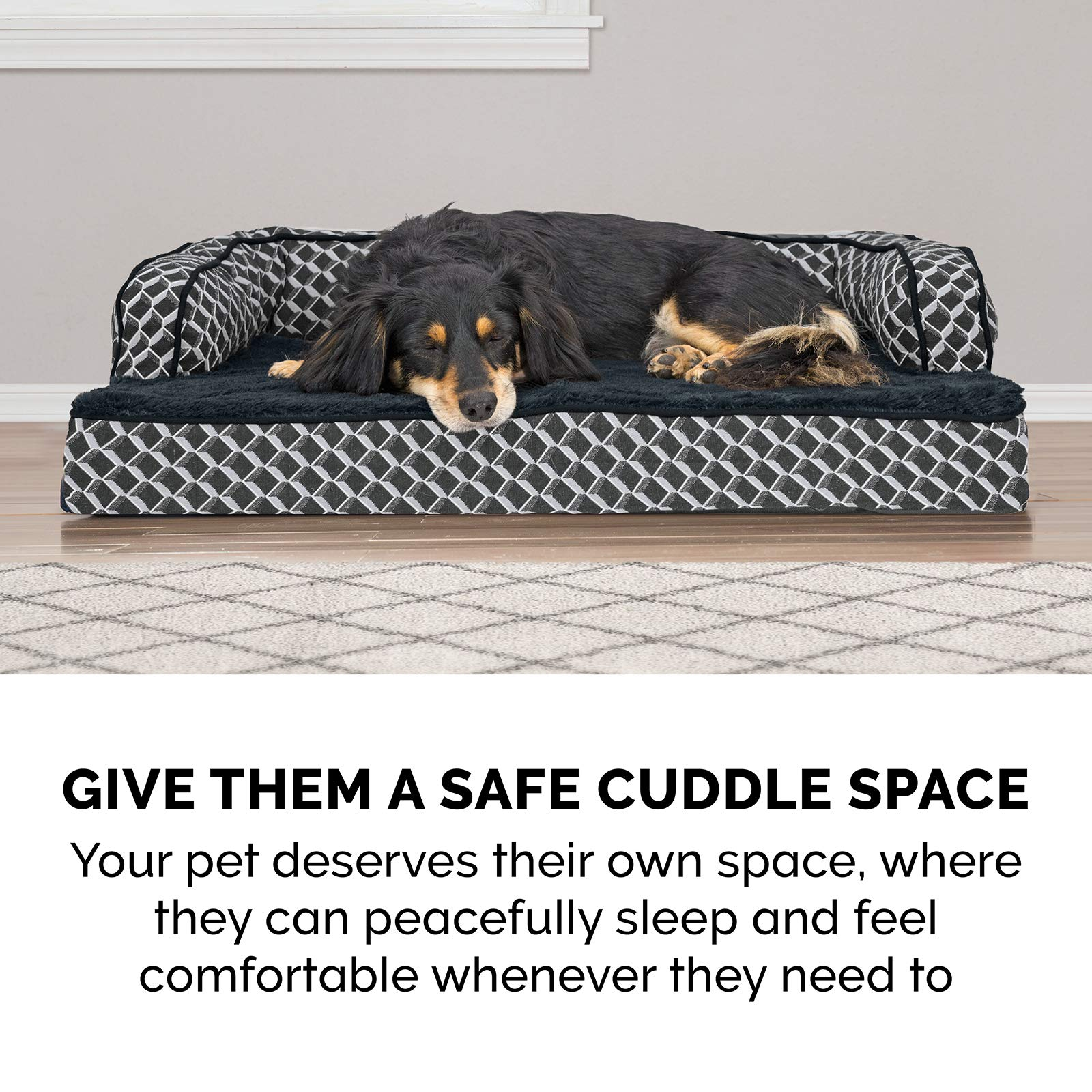 FurHaven Pet Dog Bed | Orthopedic Plush & Décor Comfy Couch Sofa-Style Pet Bed for Dogs & Cats, Diamond Gray, Jumbo by Furhaven Pet (Image #10)