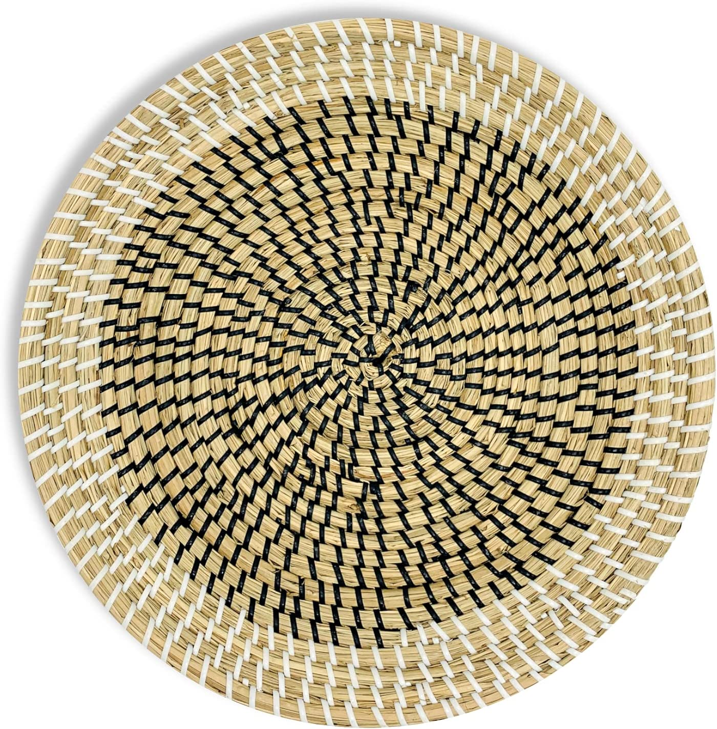 MARLIC Woven Wall Basket Decor - Seagrass Woven Basket Boho Decor for Home – Eclipse from Black and White Collection – Rustic Circular Hanging Tray for Mother's Day Gift