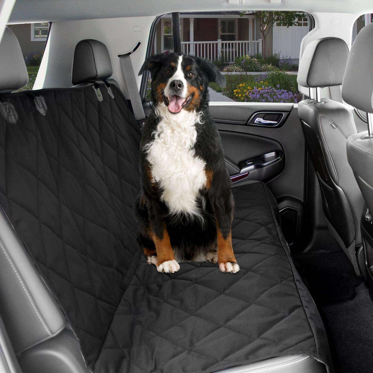 Dog Car Seat Cover Black Waterproof Non Slip Padded Quilted Predector with Seat Anchors and Heat Straps