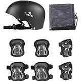 Yorbay Skateboard Protezioni Set con Helmet con 6PZ.Knee Pads con Protezioni per Polsi per Bambini bei Skate, Bicicletta, Skateboard, Roller Skate
