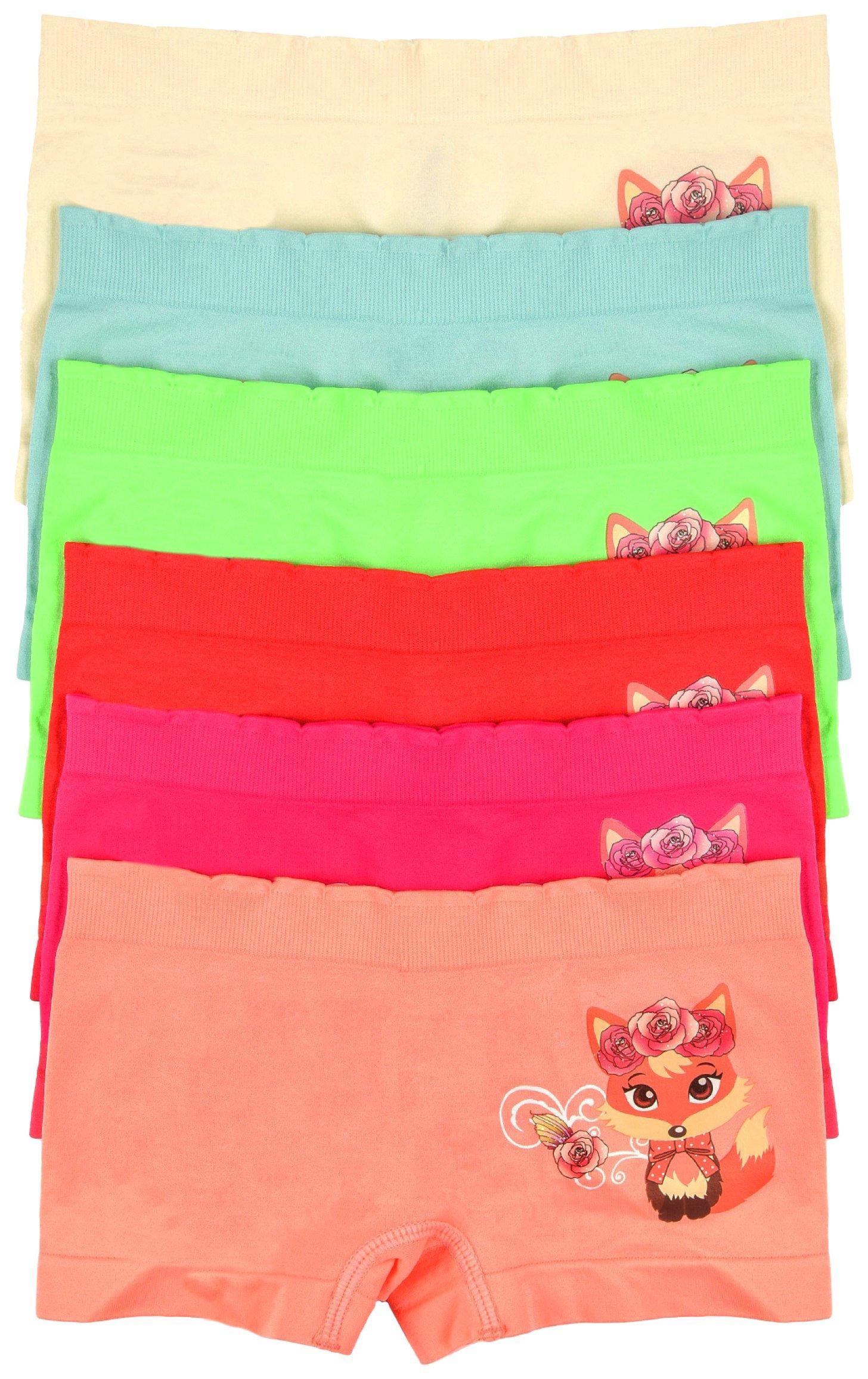 ToBeInStyle Girls' Pack of 6 Cute Fox Print Seamless Boyshorts - S
