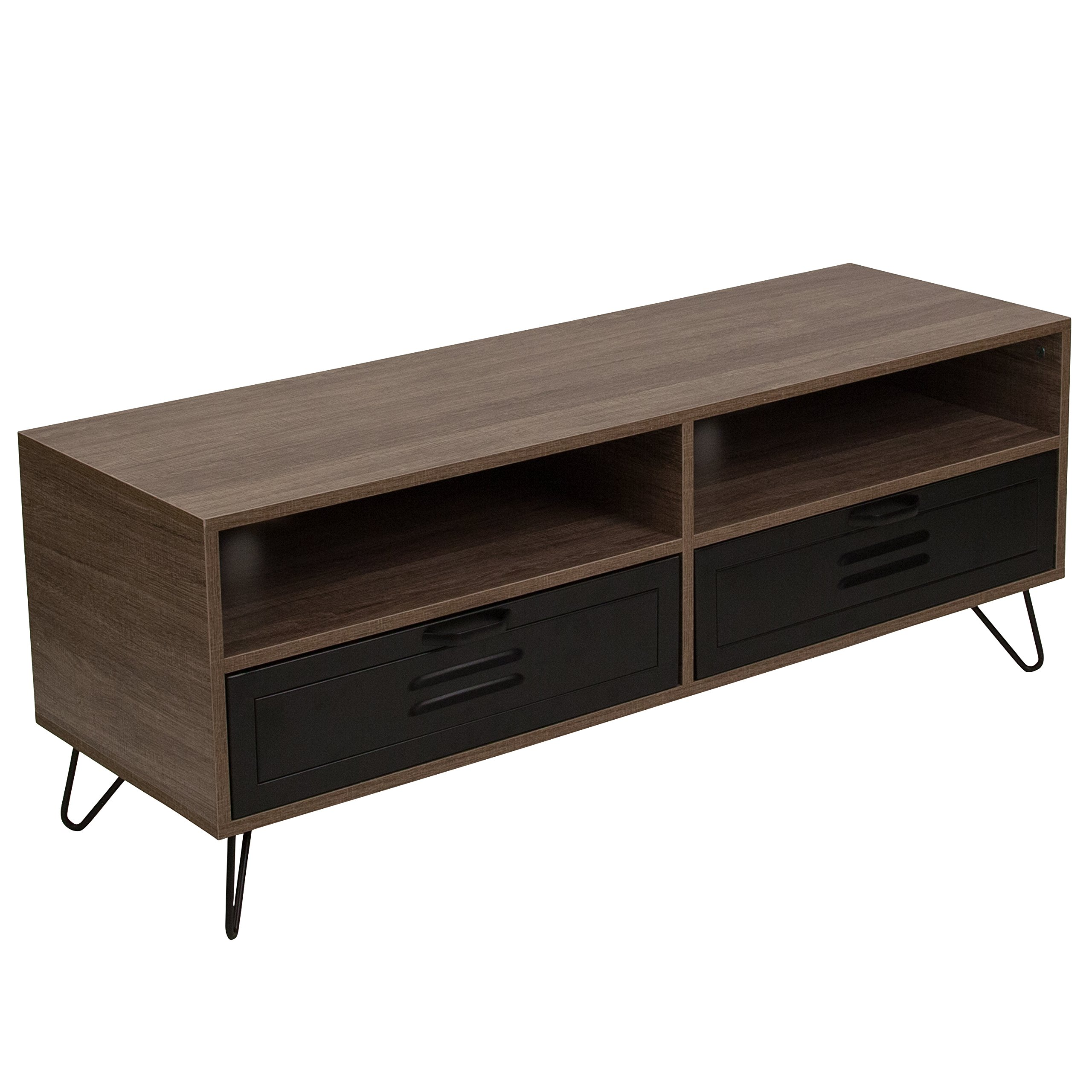 Flash Furniture Woodridge Collection Rustic Wood Grain Finish TV Stand with Metal Drawers and Black Metal Legs by Flash Furniture