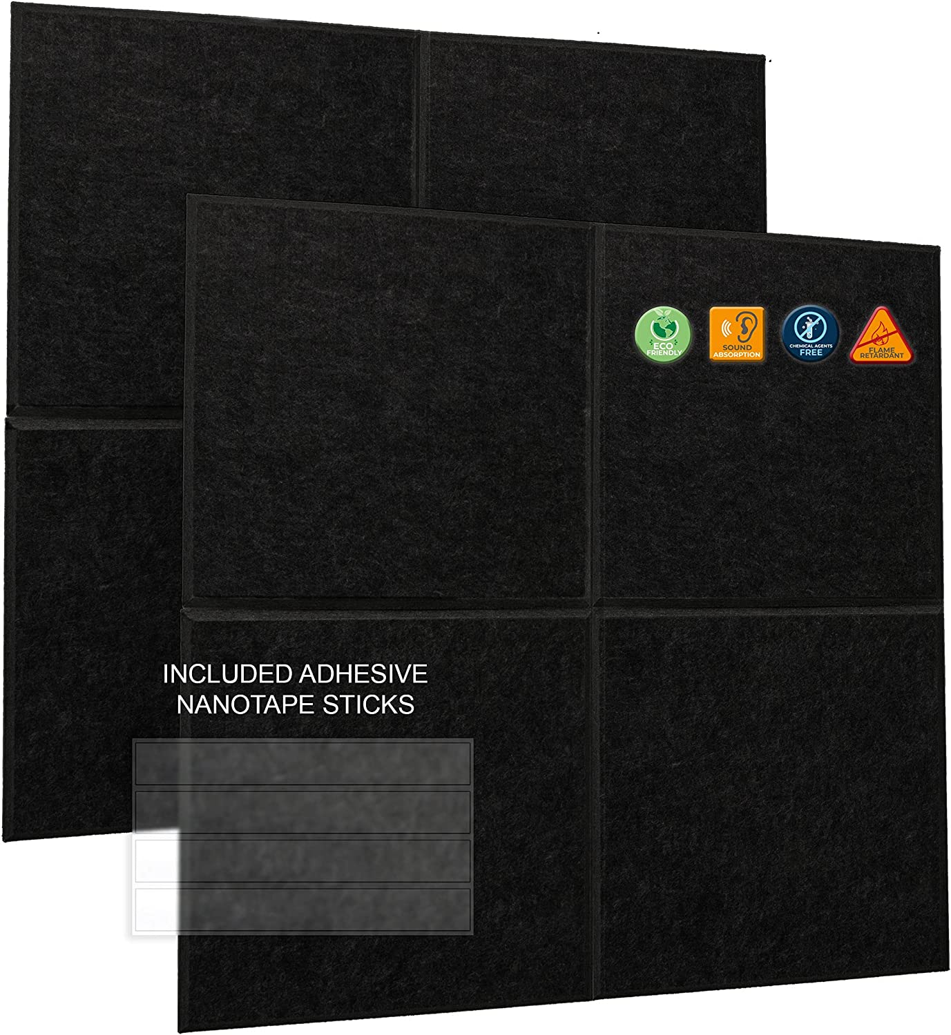 A2S Acoustic Panels Sound Proof - 8 Pack Decorative Wall Panels 12