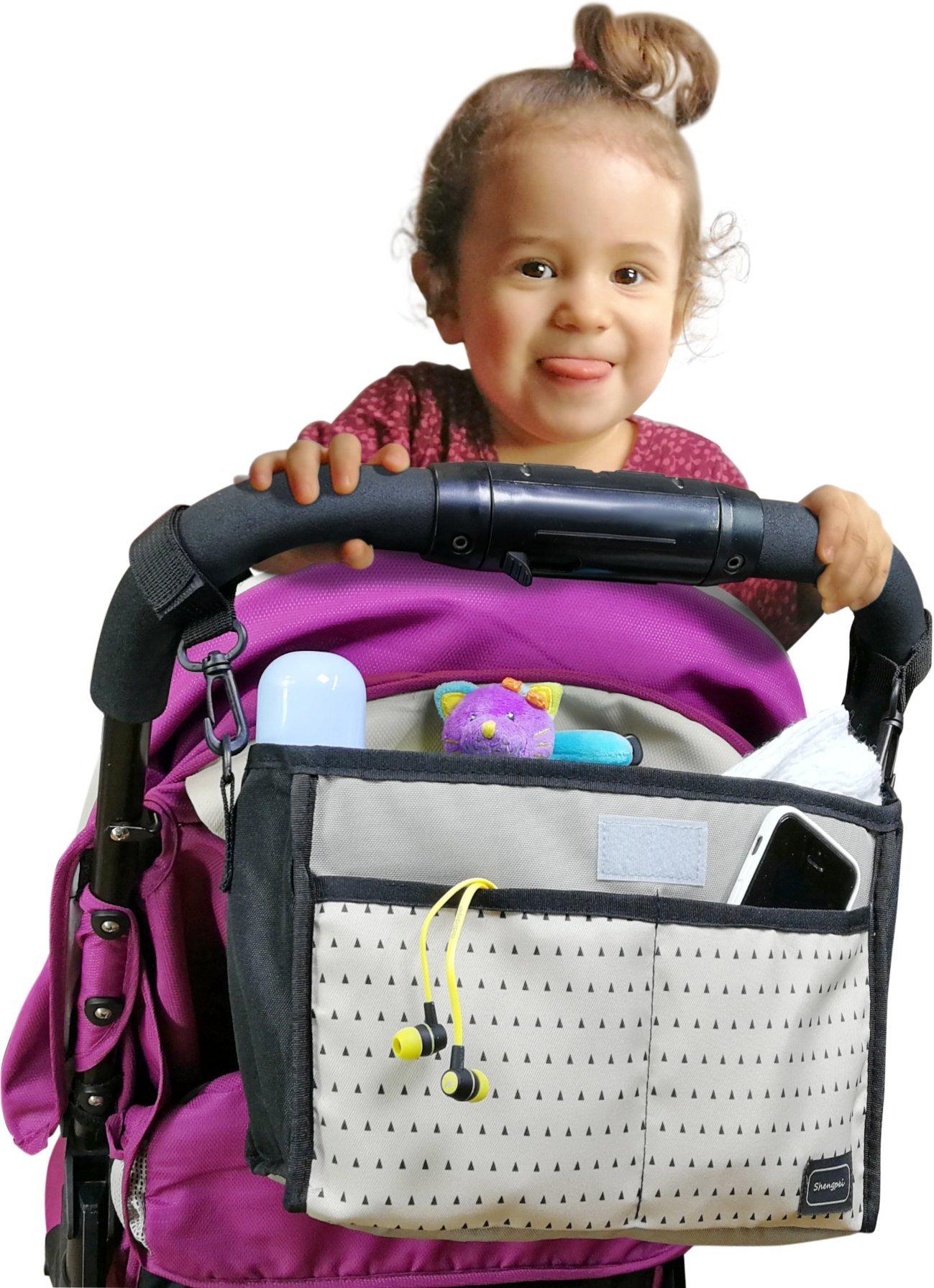 My FL Universal Baby Stroller Organizer Bottle Cloth Diapers Holder Hanging Storage Bag (Black Triangle)