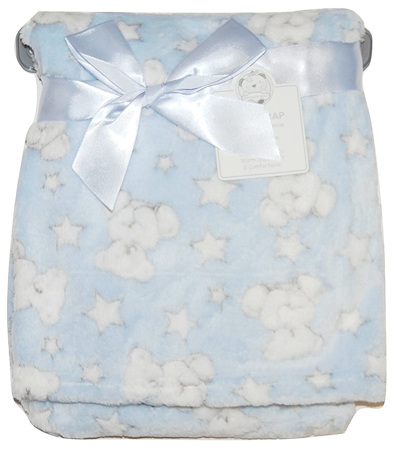 Baby Boy Girl Unisex Soft Fleece Wrap Blanket Pram Cot Crib Moses Basket Grey Star Teddy Snuggle Baby