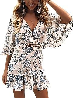 0fe57556800 ECOWISH Women s Dresses Floral Print V Neck Batwing Ruffle Hem Short Sleeve  Hollow Out Boho Mini