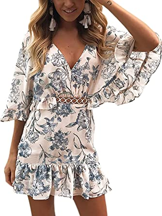 0fe57556800 ECOWISH Women s Dresses Floral Print V Neck Batwing Ruffle Hem Short Sleeve  Hollow Out Boho Mini